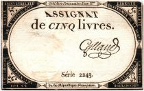 France 5 Livres 10 Brumaire An II (31-10-1793) - Sign. diverses