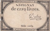 France 5 Livres 10 Brumaire An II (31-10-1793) - Sign. Duboc