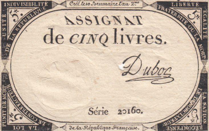 France 5 Livres 10 Brumaire An II (31-10-1793) - Sign. Dubosc