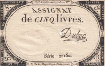 France 5 Livres 10 Brumaire An II (31-10-1793) - Sign. Dubosc