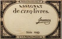 France 5 Livres 10 Brumaire An II (31-10-1793) - Sign. Jeanneau Serial 2243 - XF