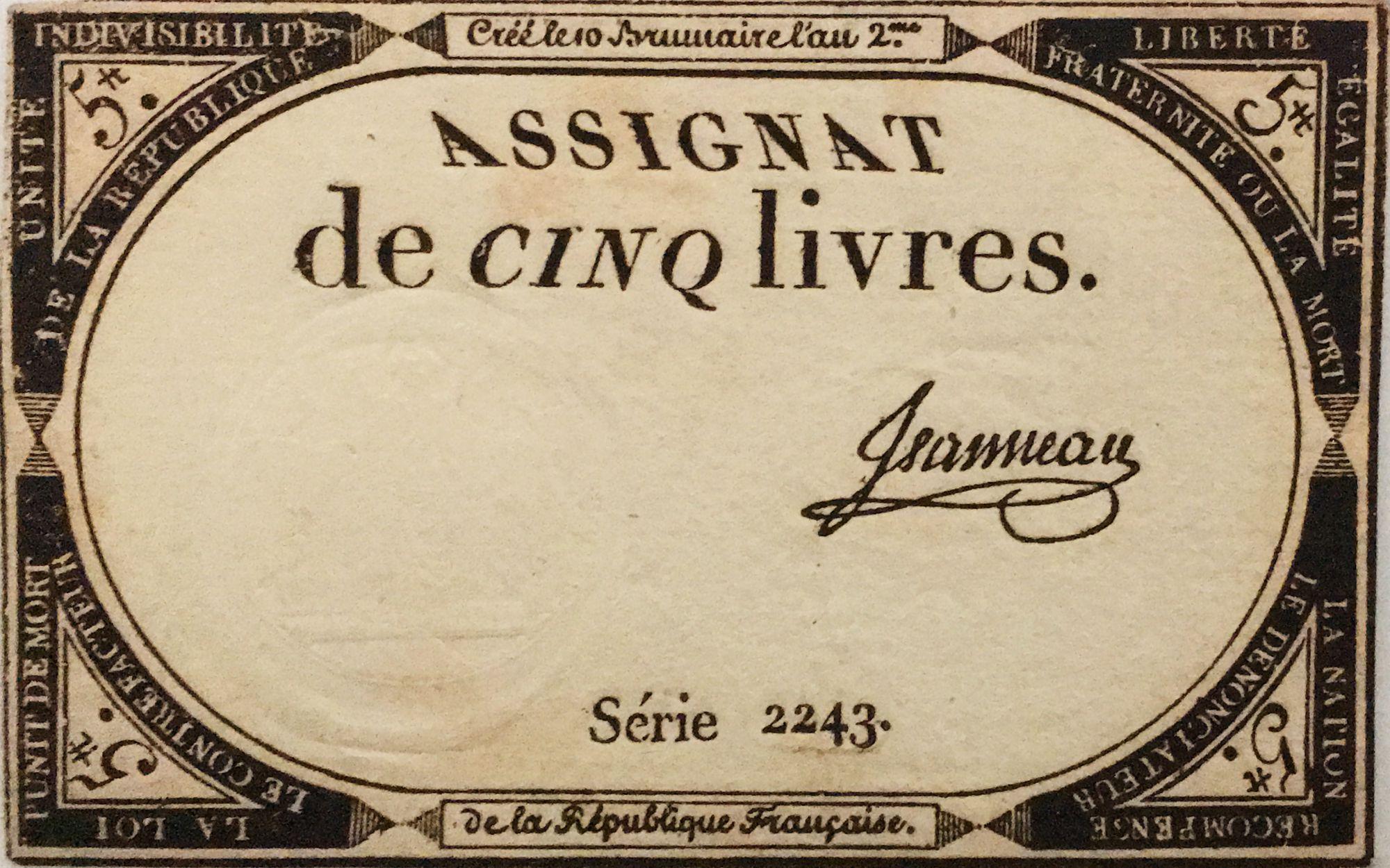 France 5 Livres 10 Brumaire An II (31-10-1793) - Sign. Jeanneau Série 2243 - SUP
