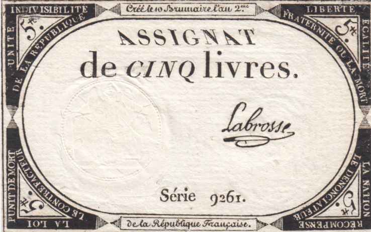 France 5 Livres 10 Brumaire An II (31-10-1793) - Sign. Labrosse
