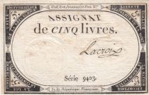 France 5 Livres 10 Brumaire An II (31-10-1793) - Sign. Lacroix Serial 9403