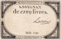 France 5 Livres 10 Brumaire An II (31-10-1793) - Sign. Lacroix Serial1742