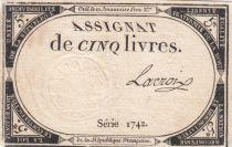 France 5 Livres 10 Brumaire An II (31-10-1793) - Sign. Lacroix Série 1742