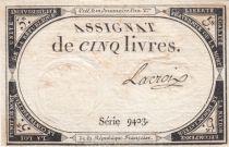 France 5 Livres 10 Brumaire An II (31-10-1793) - Sign. Lacroix Série 9403