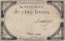 France 5 Livres 10 Brumaire An II (31-10-1793) - Sign. Lambert - Faux !