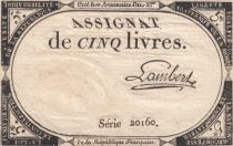 France 5 Livres 10 Brumaire An II (31-10-1793) - Sign. Lambert