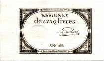 France 5 Livres 10 Brumaire An II (31-10-1793) - Sign. Lambert