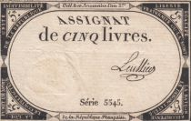 France 5 Livres 10 Brumaire An II (31-10-1793) - Sign. Lullier