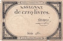France 5 Livres 10 Brumaire An II (31-10-1793) - Sign. Maugé