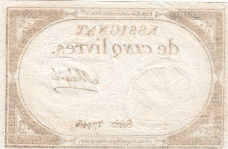 France 5 Livres 10 Brumaire An II (31-10-1793) - Sign. Mégnié