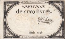 France 5 Livres 10 Brumaire An II (31-10-1793) - Sign. Michaux