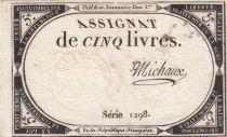 France 5 Livres 10 Brumaire An II (31-10-1793) - Sign. Michaux