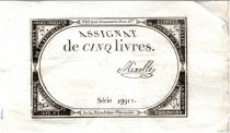 France 5 Livres 10 Brumaire An II (31-10-1793) - Sign. Mixelle