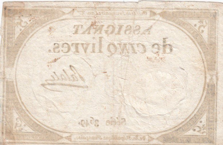 France 5 Livres 10 Brumaire An II (31-10-1793) - Sign. Palale