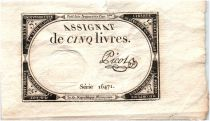 France 5 Livres 10 Brumaire An II (31-10-1793) - Sign. Picot