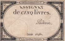 France 5 Livres 10 Brumaire An II (31-10-1793) - Sign. Poidevin