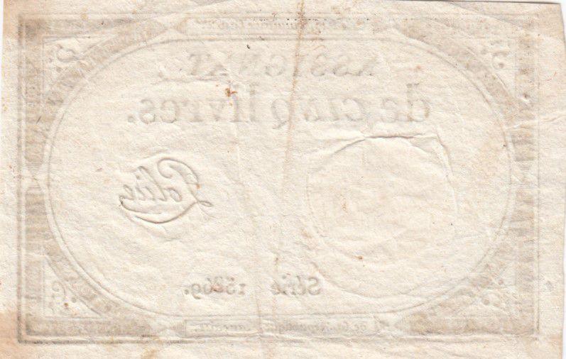 France 5 Livres 10 Brumaire An II (31-10-1793) - Sign. Police