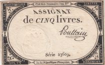 France 5 Livres 10 Brumaire An II (31-10-1793) - Sign. Pollain Serial 23609