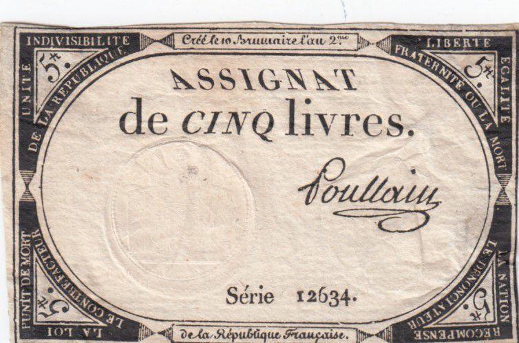 France 5 Livres 10 Brumaire An II (31-10-1793) - Sign. Poulain Série 12634