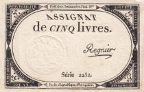 France 5 Livres 10 Brumaire An II (31-10-1793) - Sign. Regnier