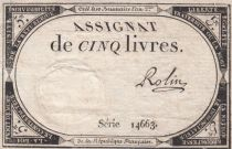 France 5 Livres 10 Brumaire An II (31-10-1793) - Sign. Rolin - Série 14663
