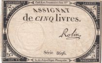 France 5 Livres 10 Brumaire An II (31-10-1793) - Sign. Rolin - Série 8696