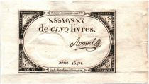 France 5 Livres 10 Brumaire An II (31-10-1793) - Sign. Roussel