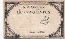 France 5 Livres 10 Brumaire An II (31-10-1793) - Sign. Sal