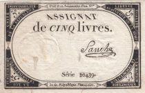 France 5 Livres 10 Brumaire An II (31-10-1793) - Sign. Sanche
