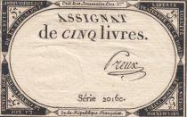 France 5 Livres 10 Brumaire An II (31-10-1793) - Sign.Preux