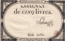 France 5 Livres 10 Brumaire An II (31-10-1793) - Sign.Schrantz