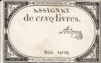 France 5 Livres 10 Brumaire An II (31.10.1793) - Sign. Ariquey