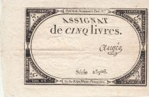 France 5 Livres 10 Brumaire An II (31.10.1793) - Sign. Augee
