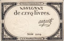 France 5 Livres 10 Brumaire An II (31.10.1793) - Sign. Auguste