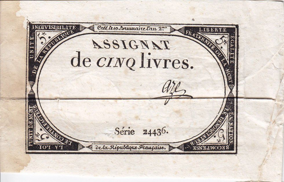 France 5 Livres 10 Brumaire An II (31.10.1793) - Sign. Aze