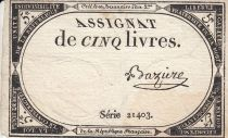France 5 Livres 10 Brumaire An II (31.10.1793) - Sign. Baziere