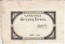France 5 Livres 10 Brumaire An II (31.10.1793) - Sign. Bertaut
