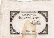 France 5 Livres 10 Brumaire An II (31.10.1793) - Sign. Berthier