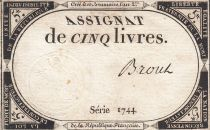France 5 Livres 10 Brumaire An II (31.10.1793) - Sign. Brout