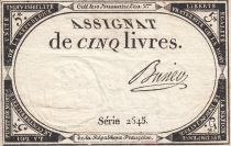 France 5 Livres 10 Brumaire An II (31.10.1793) - Sign. Busier