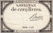France 5 Livres 10 Brumaire An II (31.10.1793) - Sign. Busier