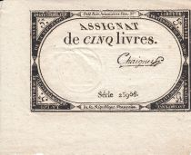France 5 Livres 10 Brumaire An II (31.10.1793) - Sign. Chaignet