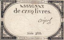 France 5 Livres 10 Brumaire An II (31.10.1793) - Sign. Coipel