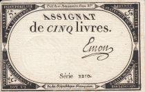 France 5 Livres 10 Brumaire An II (31.10.1793) - Sign. Emon
