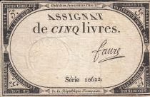 France 5 Livres 10 Brumaire An II (31.10.1793) - Sign. Faure