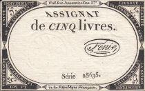 France 5 Livres 10 Brumaire An II (31.10.1793) - Sign. Fenix
