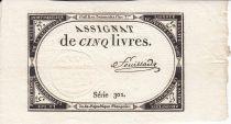France 5 Livres 10 Brumaire An II (31.10.1793) - Sign. Feuillade